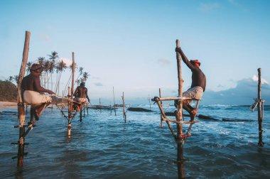 KOGGALA, SRI LANKA - OCTOBER 10, 2016: traditional fishing.vintage toned picture