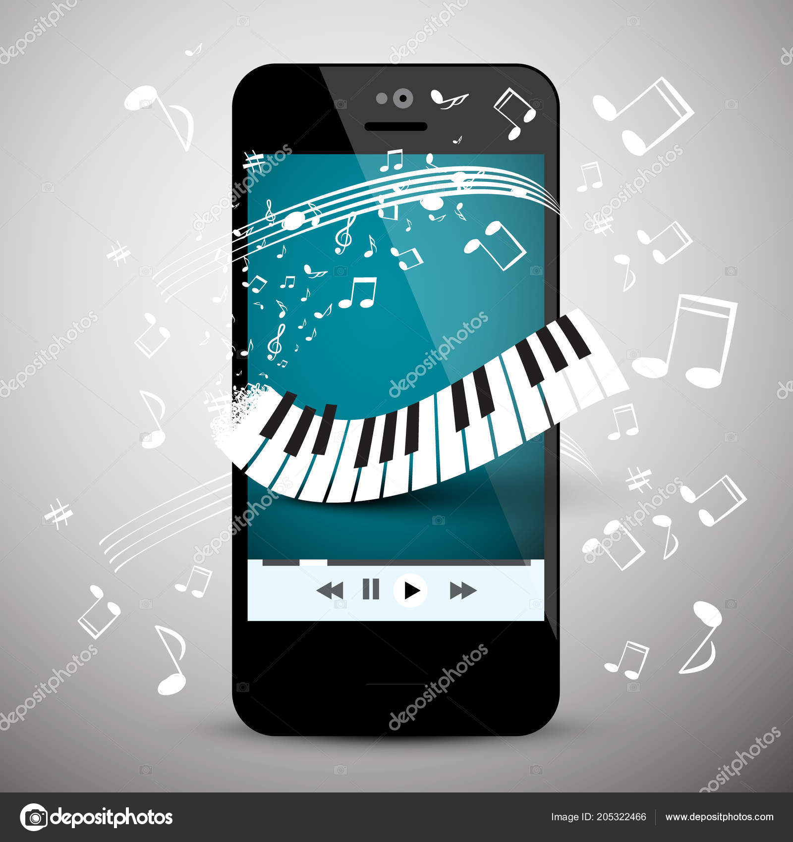 Music App Mobile Phone Keyboard Notes — Stock Vector © mejn #205322466