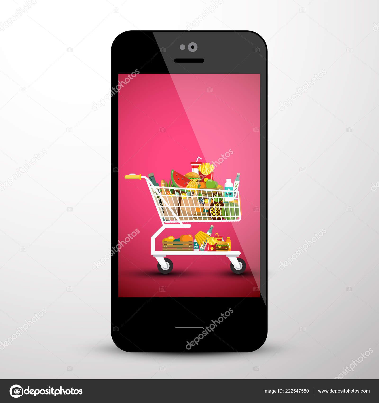 Shopping Cart Mobile Phone Screen Shop App — Stock Vector
