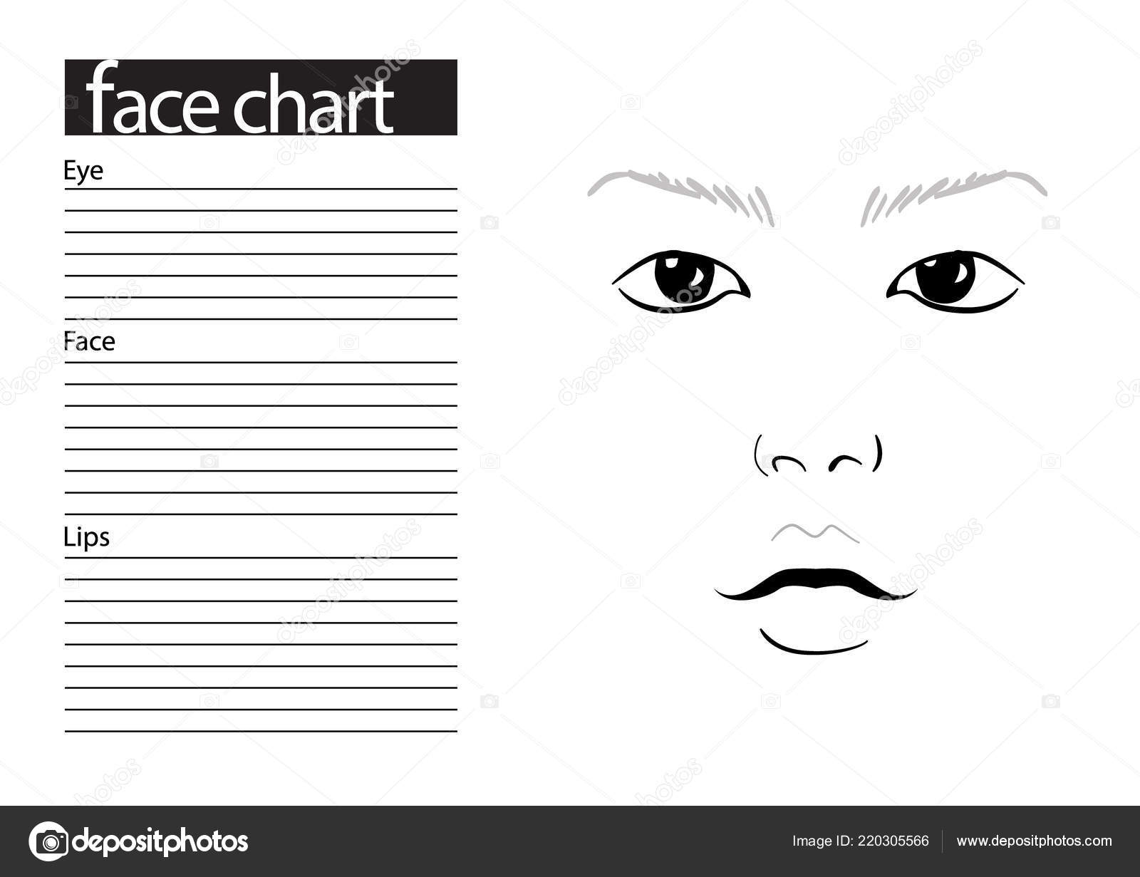 Makeup Drawing Template Face Chart Makeup Artist Blank
