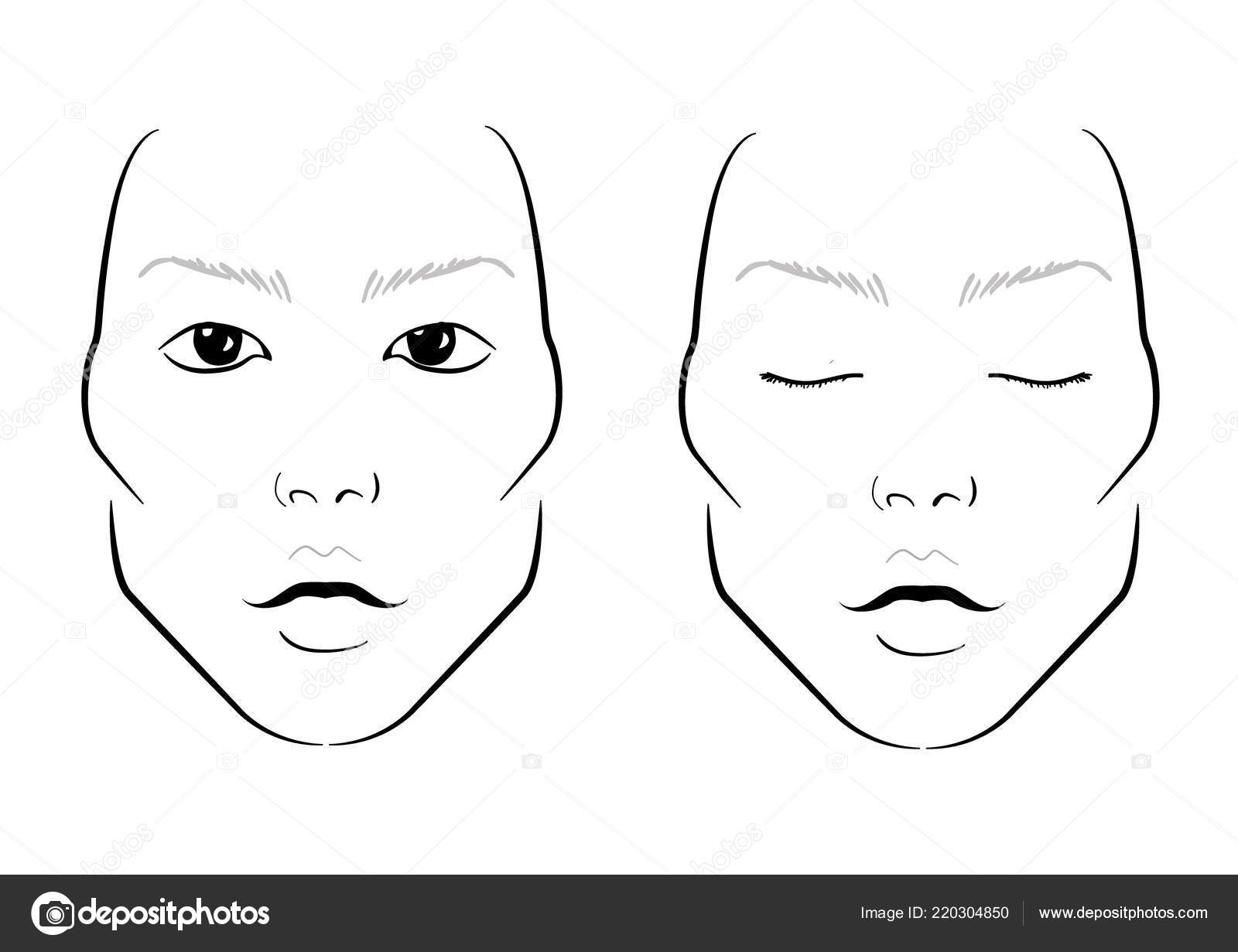 Manface Chart Makeup Artist Blank Template Vector Illustration