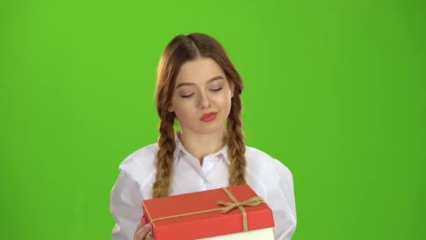 Dívka má dar v rukou a je rád. Zelená obrazovka