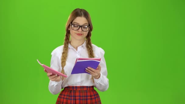 Student flips through the notebook . Green screen