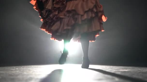 Flamenco. Legs of the girl are tap dancing. Light from behind. Smoke background. Closeup