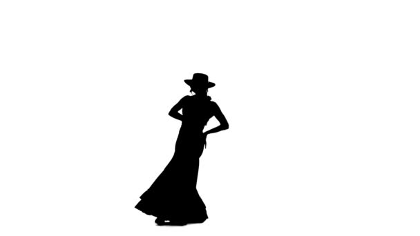 Flamenco. Girl is dancing a Spanish incendiary dance. White background. Silhouette