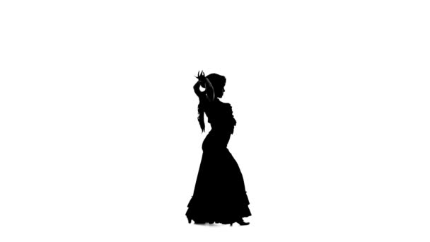 Dancer in an incendiary dance of Argentine flamenco. White background. Silhouette