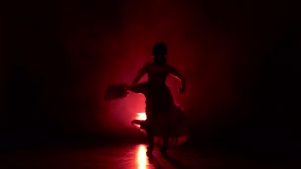 Dancer in an incendiary dance of Argentine flamenco. Light from behind. Smoke background. Silhouette