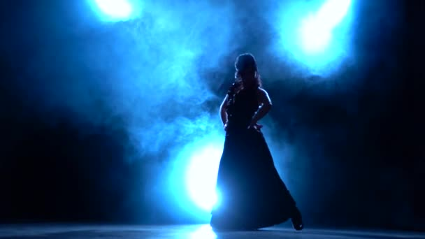 Dancer incendiary dance of Argentine flamenco . Llight from behind. Smoke background. Silhouette