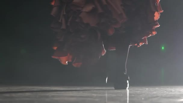 Legs of the girl are tap dancing. Light from behind. Smoke background. Close up. Slow motion