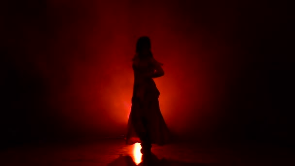 Girl dance of Argentine flamenco . Llight from behind. Smoke background. Silhouette. Slow motion