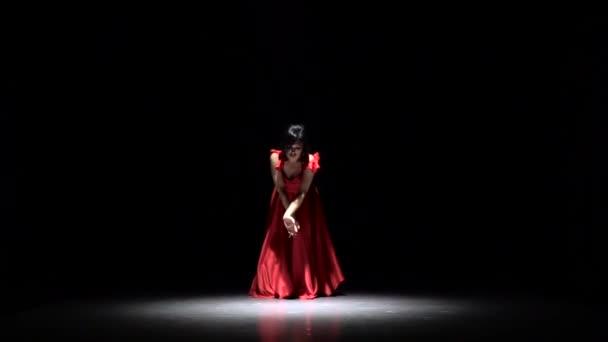 Flamenco Dance. Black background. Slow motion
