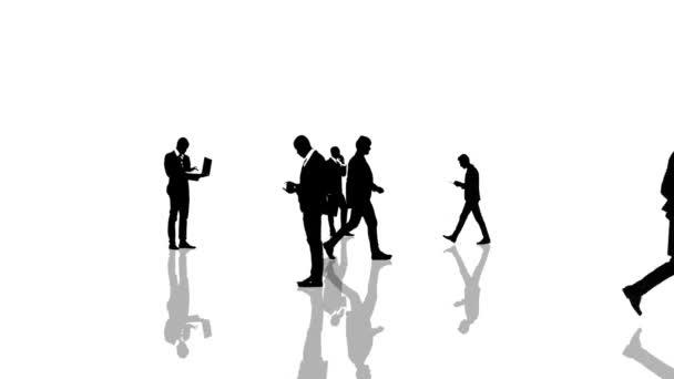 Animation with business people silhouettes moving towards the camera. Seamlessly loopable animation.