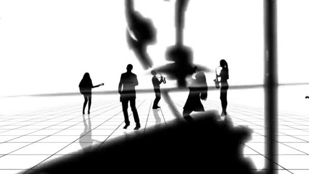 Computer generated animation of a black and white grid with musician people silhouettes moving towards the camera. Seamlessly loopable animation.