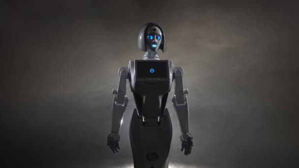 Robot provádí různé pohyby. Černý kouř pozadí