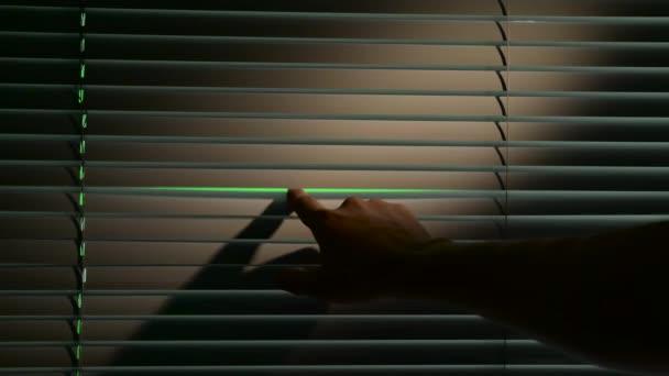 Emberi nyit vízszintesen jalousie vakok. Zöld képernyő