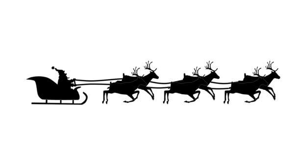 Sziluettjét karácsonyi Santa Claus repül a szán a karácsonyi ajándékokat a rénszarvas húzta. Hurkolás Video animáció.