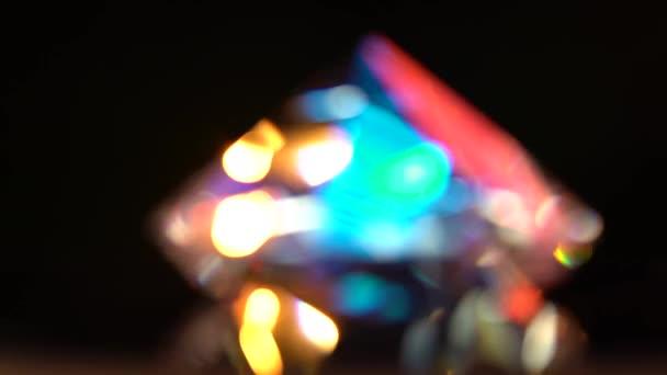Abstraktní světla bokeh v červená modrá žlutá a bílá. Černé pozadí
