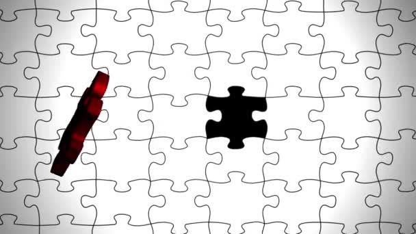 Red puzzle flies in and becomes white puzzles computer graphics animation.