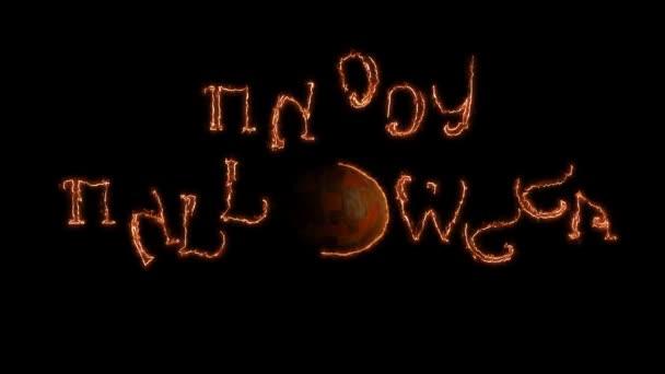 Zakřivené čáry procházení a na Happy Halloween pozdravy. Černé pozadí
