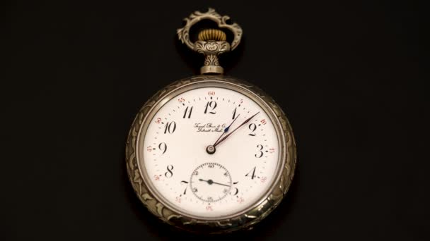 Running second hand on an old vintage pocket watch . Black background. Time lapse