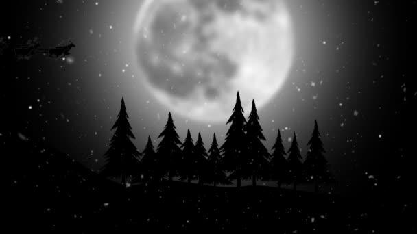 Silueta Santa na saních s jeleny na pozadí velké měsíce
