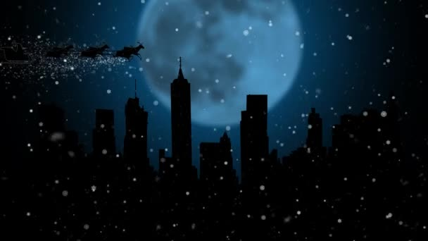 Kerstman En Zijn Slee Vliegen In De Lucht Gelukkig Nieuwjaar