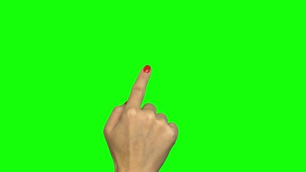 Movimenti del touchscreen a mano sullo schermo verde