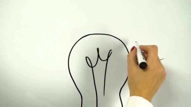 Nákres žárovky jako symbol myšlenky, kreslení na tabuli