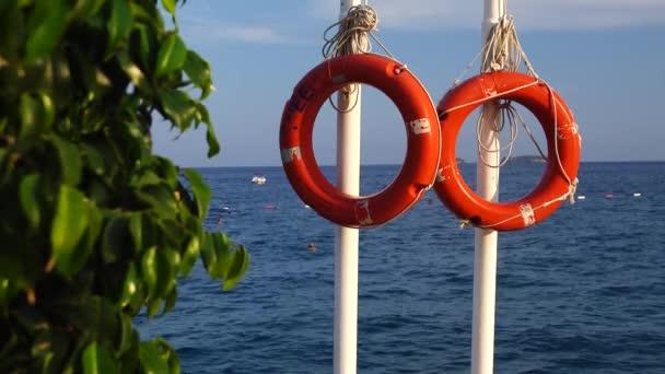 Rettungsring auf einem Pier im Meer