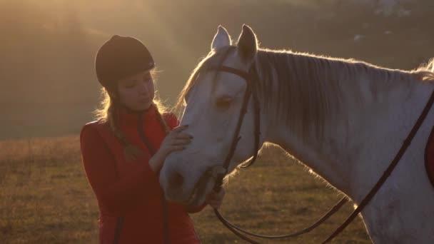 Dívka stojící na louce a hladil koně a krásný západ slunce. Zpomalený pohyb. Detailní záběr