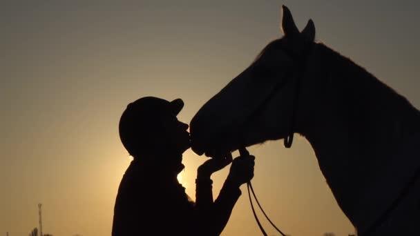 Reiterin küsst und streichelt sein Pferd bei Sonnenuntergang. Silhouette. Zeitlupe. Seitenansicht. Nahaufnahme