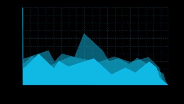 Jednoduché modré skládaný plošný graf. Černé pozadí