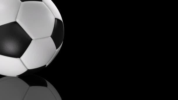 3D animáció a textúrázott futball labda forgatható tükörfelületre.