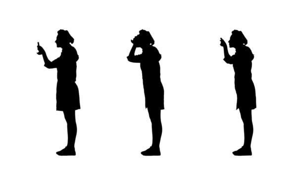 Three black silhouettes of cook woman in uniform trying dish.