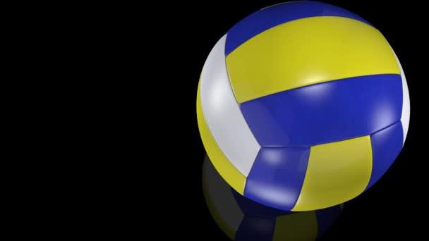 3D animace, volejbalová koule na zrcadlovém povrchu.