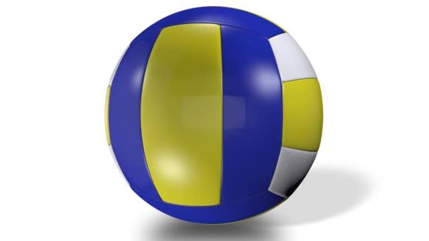 3D animace, barevná volejbalová koule ve středu obrazovky.