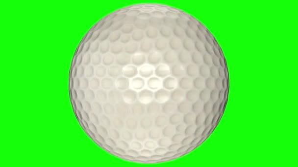 3D animace, golfová koule se točí uprostřed průhledného pozadí.