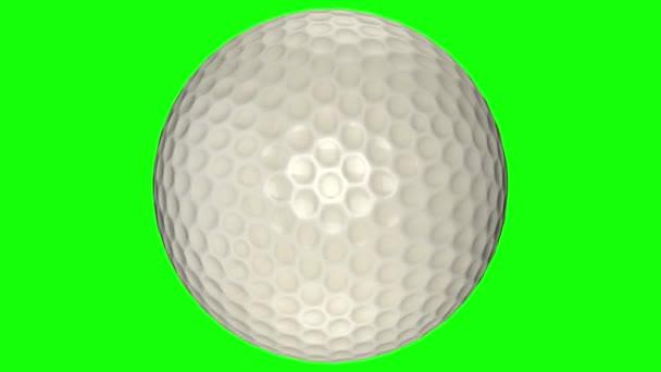3D animace, golfová koule v pohybu uprostřed obrazovky.