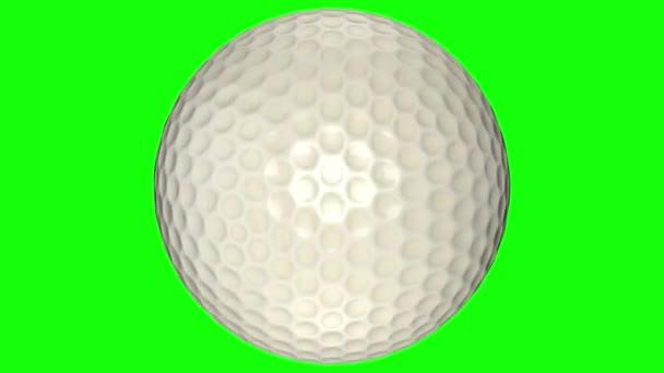 3D animace, golfová koule, která se otáčí uprostřed průhledného pozadí.