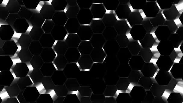 3D-Animation abstrakter Hintergrund eines schwarzen Sechsecks, das nach oben und unten steigt.
