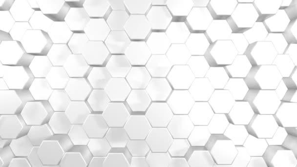 3D Animation abstrakter Hintergrund eines weißen Sechsecks, das nach oben und unten steigt.