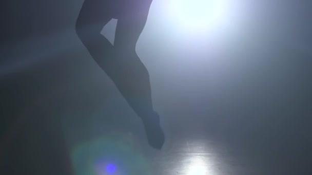 Silhouette Junges Mädchen führt die akrobatischen Elemente im Luftring auf. zeitlupe. Closeup. 254