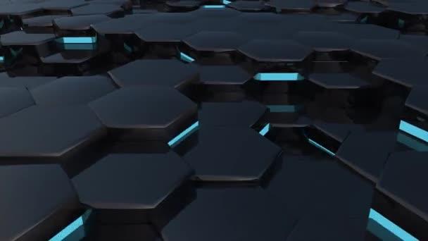 3D-Animation eines schwarzen Sechsecks, das auf und ab steigt.