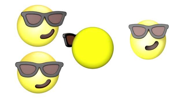 3D animace zubící se, otočné a poskakující žluté Emoji.