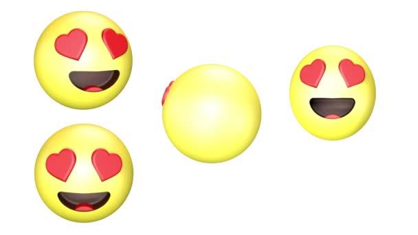 3D animace smaltu se otáčejícího a přeskakovaného žlutého Emoji.