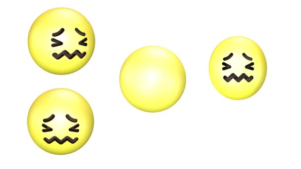 3D animation of almost crying revolving and jumping yellow emoji.
