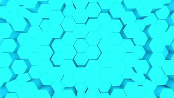 abstrakter blauer Sechseck Bewegungshintergrund. 3D-Animation eines türkisfarbenen Sechsecks, das nach oben und unten steigt.