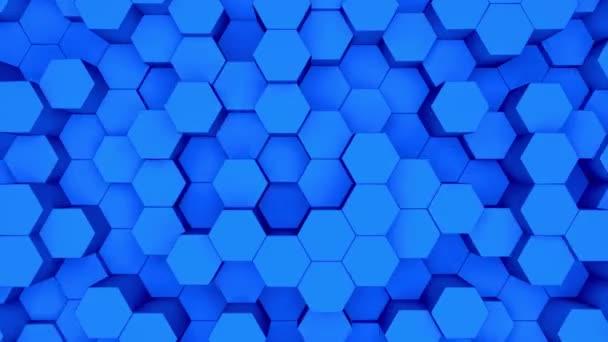 abstrakter dunkelblauer Hexagon-Bewegungshintergrund. 3D-Animation eines auf- und absteigenden blauen Sechsecks.