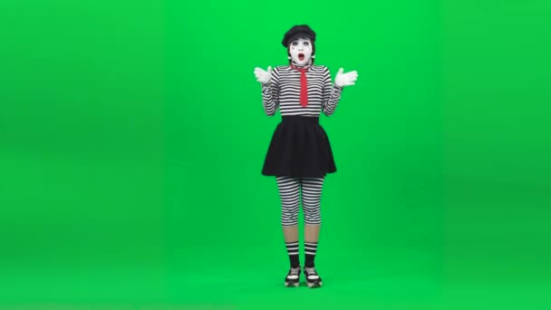Mime girl looking touched by something. Chroma key. Full length.