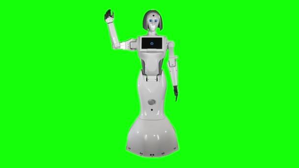 Robot integet búcsút. Zöld vászon. Lassú mozgás.